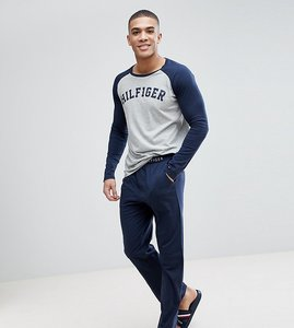 Read more about Tommy hilfiger pyjama set ls logo raglan top jersey pants in navy grey - grey heather navy