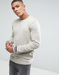 Read more about French connection crew neck knitted jumper with contrast cuff - beige