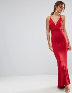 Read more about Asos slinky deep plunge fishtail plait strap maxi dress - red