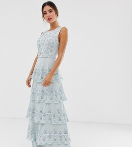 Read more about Maya all over embellished tiered maxi dress in ice blue