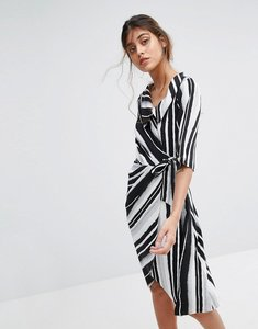 Read more about Closet london wrap front striped dress - multi