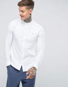 Read more about Farah brewer slim fit grandad collar oxford shirt in white - white