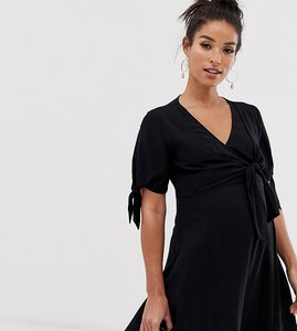 Read more about Asos design maternity double wrap front mini skater dress with tie sleeves