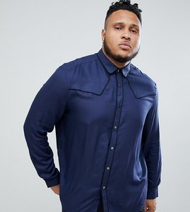 Read more about Asos design plus regular fit western viscose shirt in navy with poppers - navy