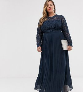 Read more about Chi chi london plus lace maxi dress with scalloped back in navy