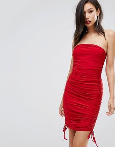 Read more about Club lslinky bandeau ruched detail dress - red