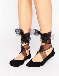 Read more about Asos ballerina sock with organza tie detail - black