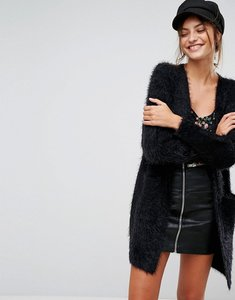 Read more about Stradivarius fluffy longline cardigan - black