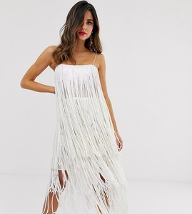 Read more about Asos design tiered midi dress in fringe sequin
