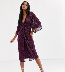 Read more about Asos design kimono midi dress in linear sequin