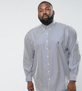 Read more about Polo ralph lauren plus poplin pinstripe shirt in white blue - blue white