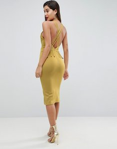 Read more about Asos strappy back midi bodycon dress - chartreuse