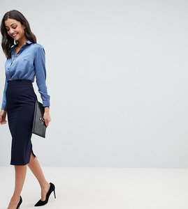 Read more about Asos tall mix match high waisted pencil skirt - navy