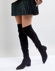 Read more about Mango over the knee block heel boot - black