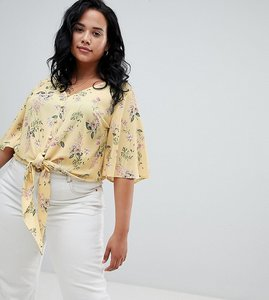 Read more about New look curve tie front button down blouse - yellow