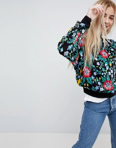 Read more about Pull bear knitted all over floral jumper - black
