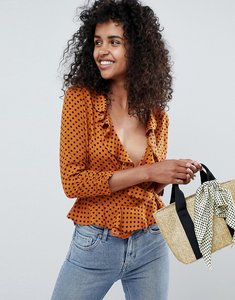 Read more about Miss selfridge blouse with ruffle front in rust polka - multi
