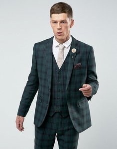 Read more about Harry brown skinny tartan suit jacket - green