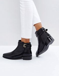 Read more about Dune london poppy leather buckle ankle boots - black-leather