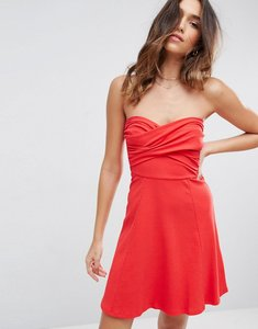 Read more about Asos mini twist front bandeau skater dress - red