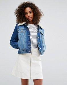 Read more about Brave soul faux shearling collar denim jacket - denim