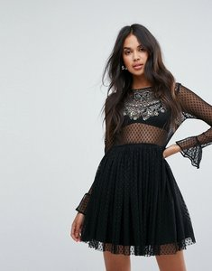 Read more about Asos embellished dobby mesh trim tulle skater mini dress - black