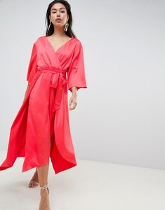Read more about Asos design jumpsuit with wrap front and hanky hem in satin - rose red