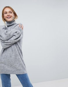 Read more about Monki high neck knitted jumper - grey