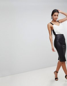 Read more about Asos leather look pencil skirt - black