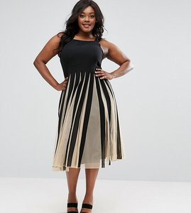 Read more about Asos curve mesh fit and flare mono midi dress - mono