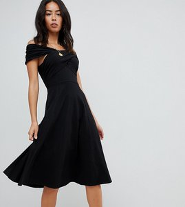 Read more about Asos design tall midi skater dress with bardot neckline - black