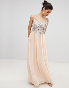 Read more about City goddess embellished chiffon maxi dress - pale pink