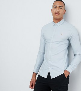 Read more about Farah sanfers skinny fit buttondown oxford shirt in blue - blue