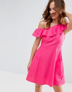 Read more about Asos one shoulder ruffle front mini sundress - pink