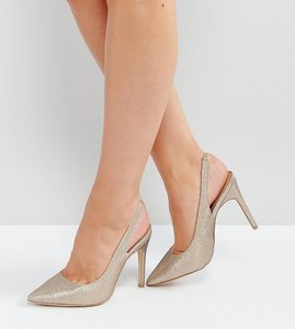 Read more about New look wide fit sling back heeled shoe - gold