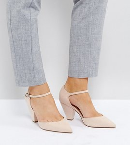 Read more about Asos speaker wide fit pointed heels - nude