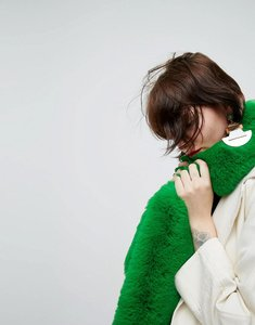 Read more about Asos faux fur bright green scarf - green