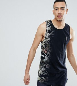 Read more about Religion longline vest with curved hem and fade floral print