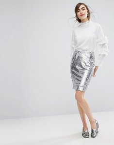 Read more about E f l a sequin pencil skirt with frill detail - silver