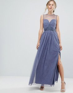 Read more about Little mistress sweetheart mesh maxi dress with embroidered trim - lavender grey