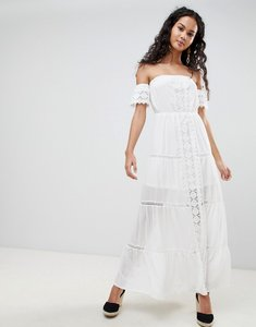 Read more about Parisian off shoulder crochet maxi dress - white