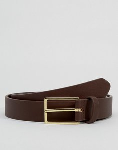 Read more about Asos smart faux leather slim belt in brown - brown