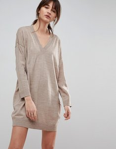 Read more about Asos knitted mini dress with v neck - oatmeal
