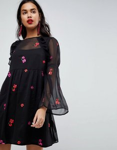 Read more about Asos embroidered smock mini dress - black