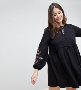 Read more about Asos design curve embroidered sleeve smock dress - black