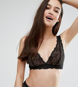Read more about Monki lace triangle bra - black