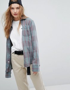 Read more about Rvca boyfriend shirt with pockets in check - blue slate