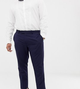 Read more about Farah skinny wedding suit trousers in linen - navy