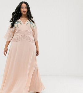 Read more about Asos design curve short sleeve maxi dress with embroidered bodice and lace waist detail