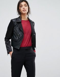 Read more about Sisley faux leather biker jacket with zip details - black